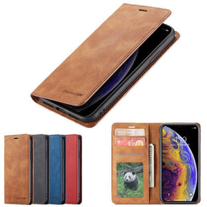 Leather Flip Wallet Case Cover For Samsung