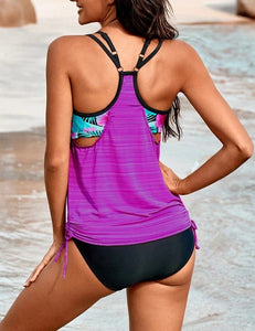 Side Ruched Splicing Two-Piece Tankini Set