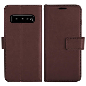 Leather-Style Samsung Galaxy S10 Wallet Stand Case