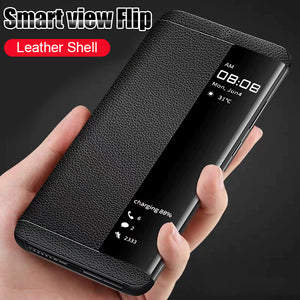 Luxury Leather Flip View Smart Case For Huawei