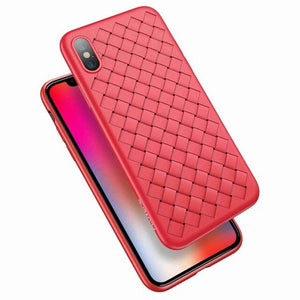 FLOVEME PU Leather Case For iPhone X XS Max XR 8 7 6 6s Soft Woven Grid Back Cases For iPhone 6s 6 7 8 Plus Cover Business Funda