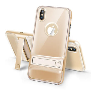 360 Full Protection Shockproof + PC Stand Holder Cover For iPhone