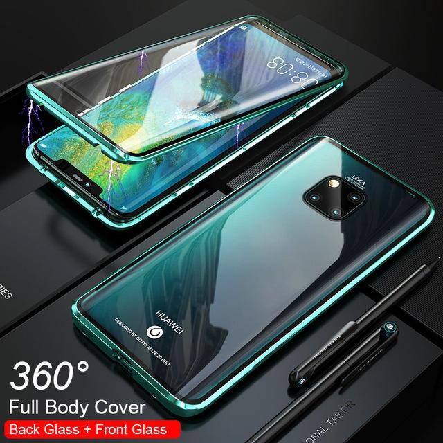 Magnetic Adsorption Transparent Shockproof Case double-sided Glass Phone Case For Huawei