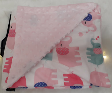 Pink Elephants Minky Blanket