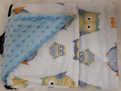 Blue Owls Minky Blanket