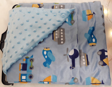 Blue Transport Minky Blanket