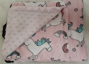 Pink Unicorns Minky Blanket