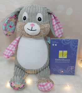 Sally the Pink Harlequin Cubbie Bunny