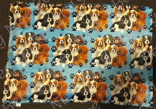 Load image into Gallery viewer, Blue Pawprint Cavalier Minky Blanket