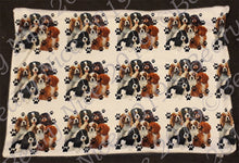 Load image into Gallery viewer, White Pawprint Cavalier Minky Blanket
