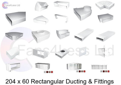 Flat Rectangular Kitchen Ducting 204x60 Extractor Ventilation Heat Recovery Fan