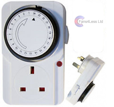 24 Hour Timer UK Mains Plug In Switch Time Clock