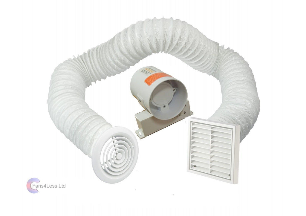 "4"" 5"" 6"" Inline Extractor Fan Timer or Std Full 3m Kit Ventilation Bathroom Shower"