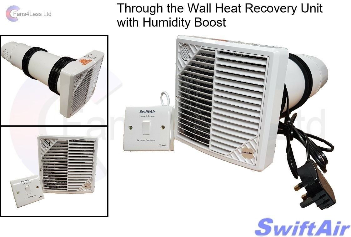 HRW150H Wall Mounted 84% Heat Recovery Unit Supply Extract Fan Humidity Bathroom