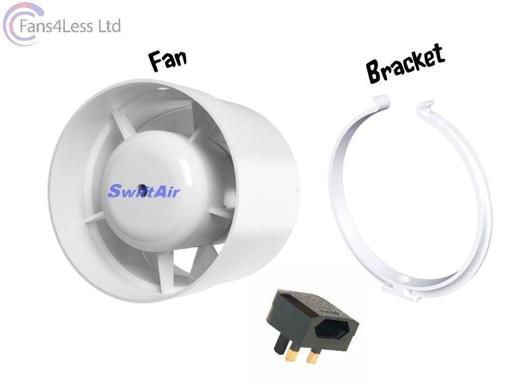 "4"" 100mm Inline Extractor Fan Timer Standard LED Light Chrome White Kit Bathroom Shower"