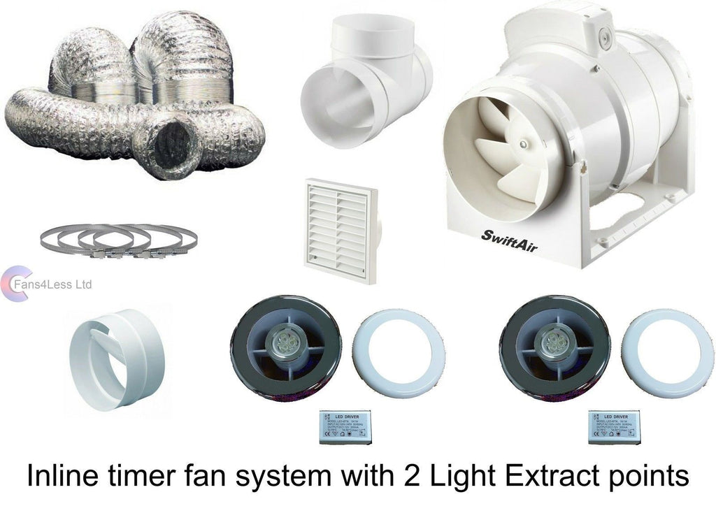 Inline Extractor Fan Bathroom System Light Grilles x 2 Shower Back Draught 4""