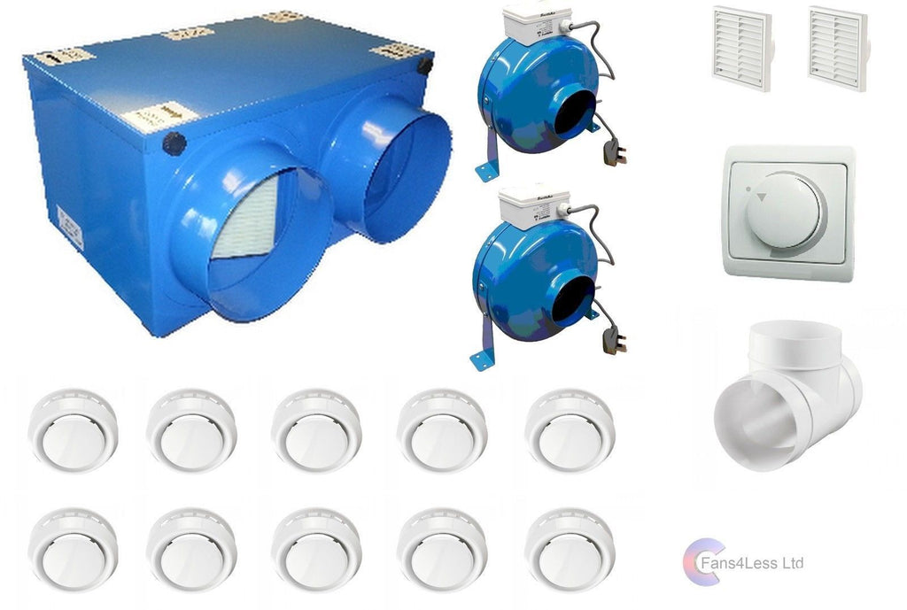 Heat Recovery Ventilation Fan 10 Room Complete Kit Condensation Remover Bathroom