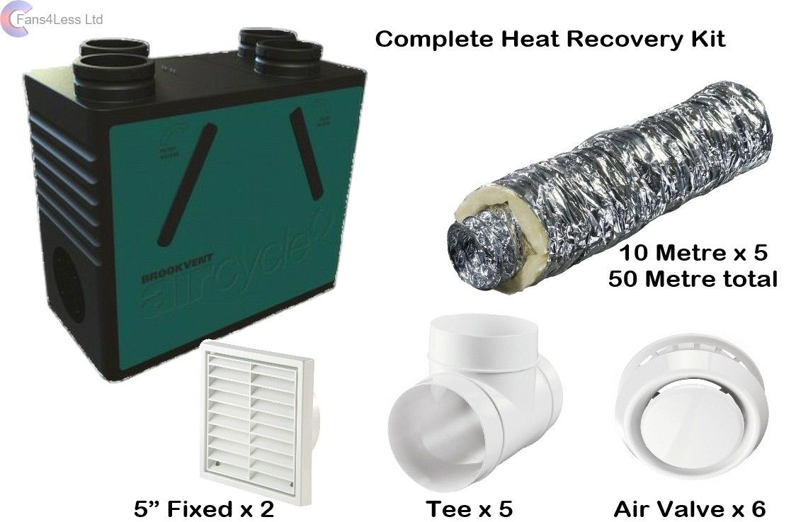 Brookvent Kit 93% Heat Recovery Whole House Extract Supply Fan Summer By Pass