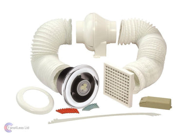 Manrose Complete Bathroom Shower Inline Light LED Extractor Centrifugal Fan Kit