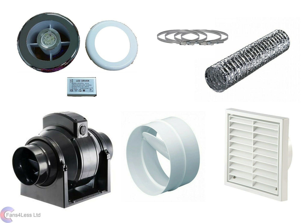 "MF100S MF100T Mixedflow Back Draught Bathroom inline Fan Light Kit 4"" 100mm"