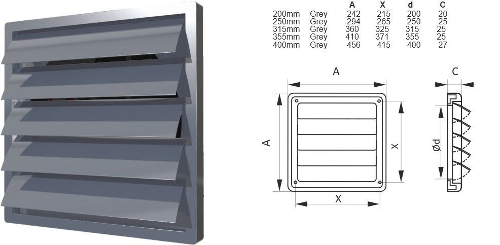 "Air Grille Cover Gravity Flap Shutter 8"" to 16"""