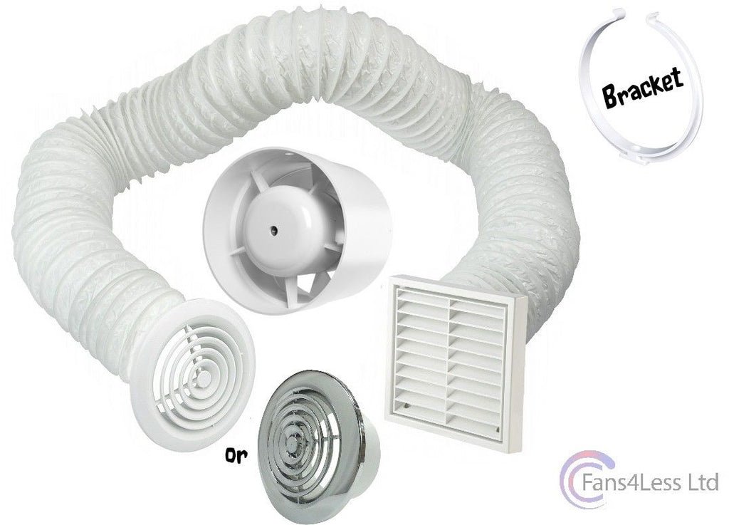 "4"" 5"" 6"" Inline Extractor Fan Timer Standard Full 1m Kit Ventilation Bathroom Shower"