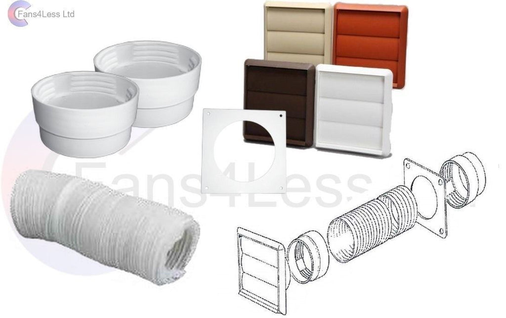Swiftair 100mm Tumble Dryer Venting Kit Wall Ducting Gravity Ventilation Fan Kit