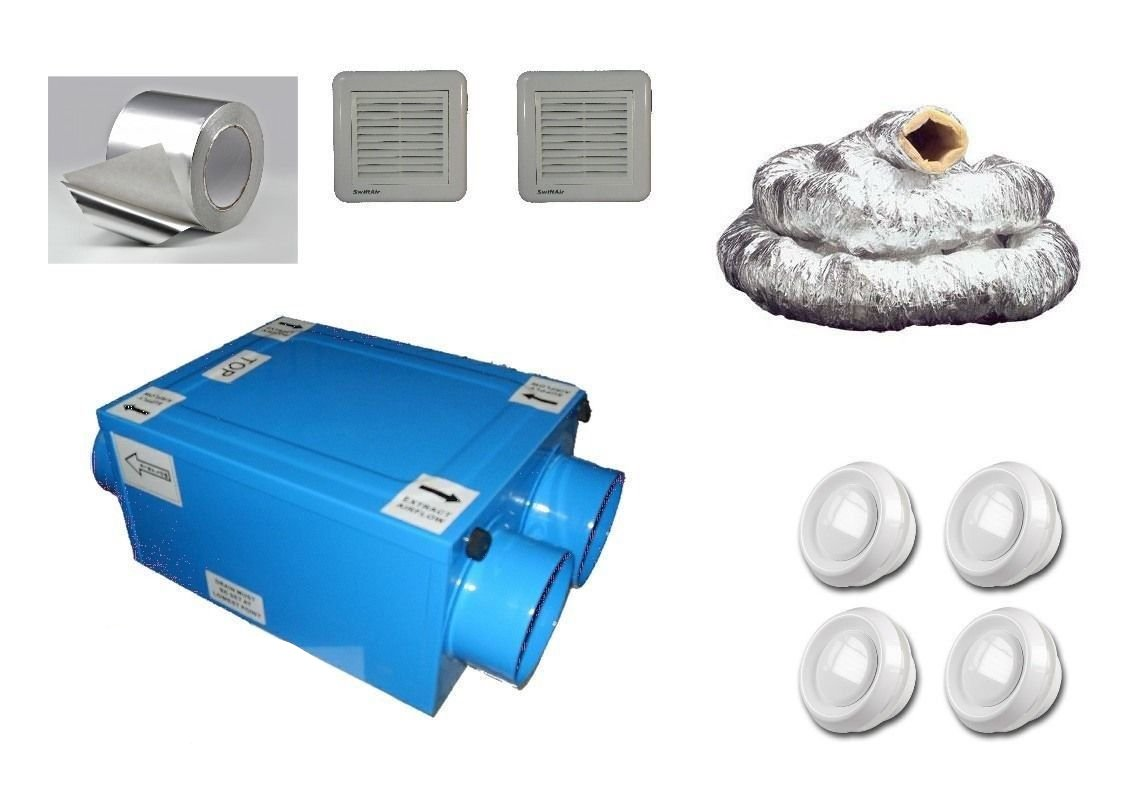 CFLO100 Heat Recovery Ventilation Condensation 1,2,3 or 4 Rooms Complete Kit