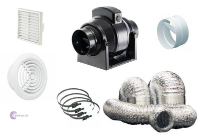 Manrose MF Timer Std Mixedflow Back Draught Bathroom inline Fan Kit 4