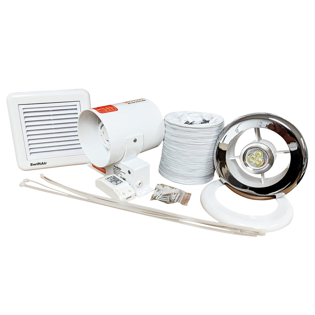 SL100TWC Bathroom Shower Extractor Fan with SELV Light Kit Chrome Grill - Std or Timer 4""