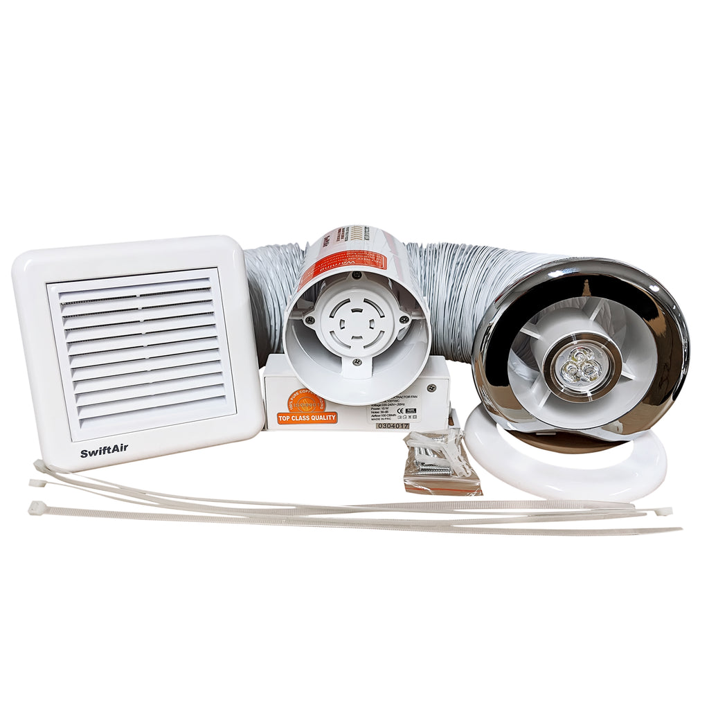 "4"" light fan bathroom extractor kit"