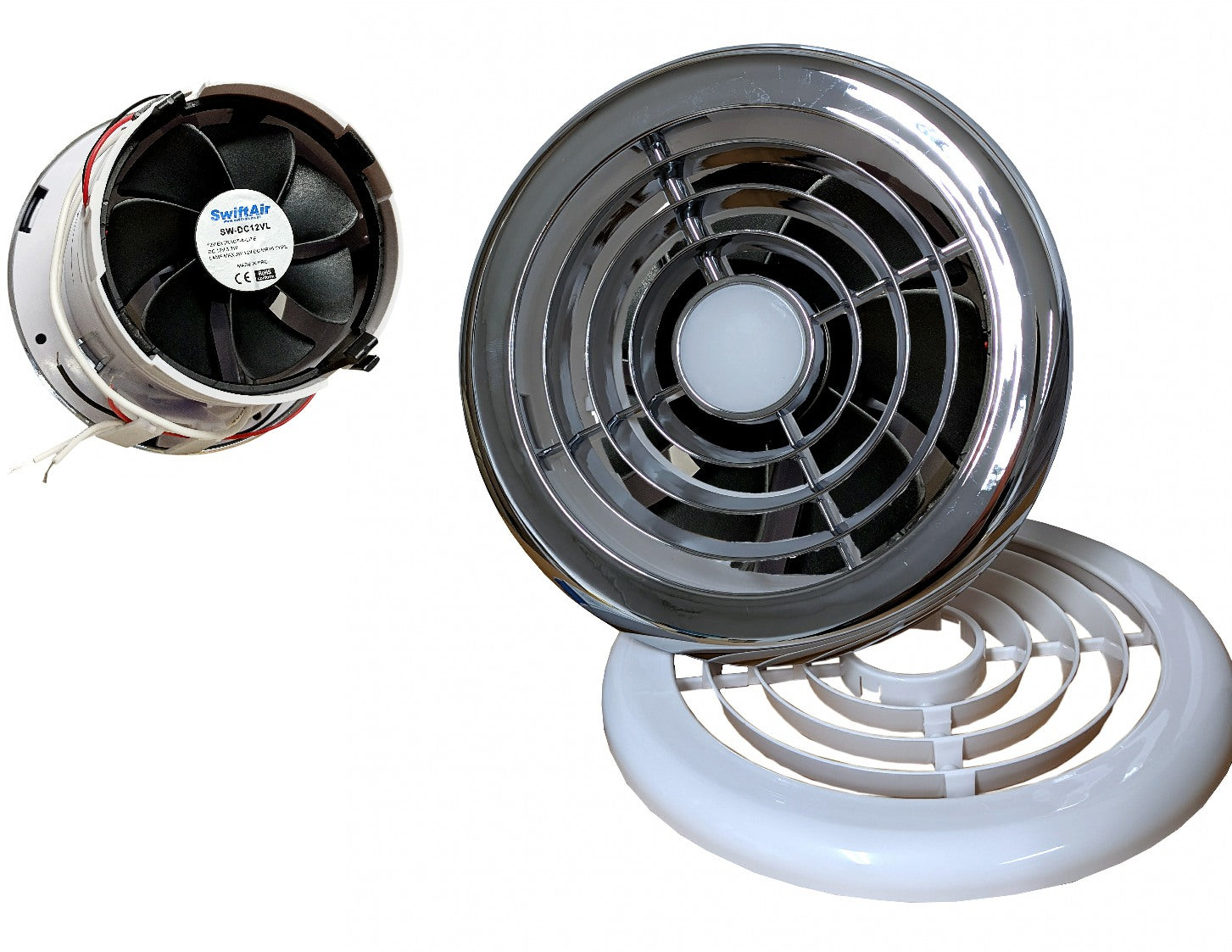 12v 24v DC boat caravan fan with LED light