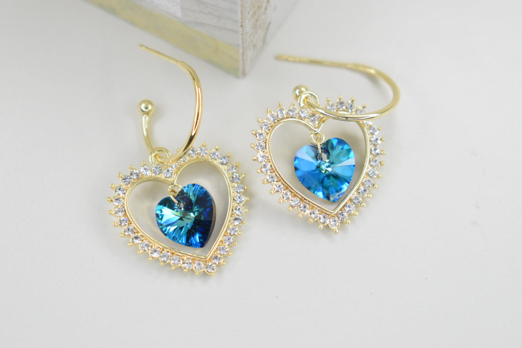 Aretes Blue Heart