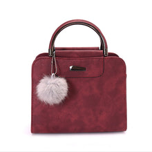 Load image into Gallery viewer, Fashion Women Plush Ball Faux Leather Shoulder Bag Tote Purse Crossbody  Handbag