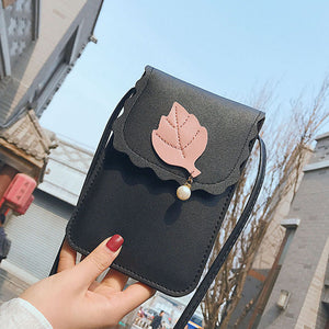 Women Faux Leather Solid Color Bag Leaf Shopping Crossbody Shoulder Handbag Gift