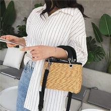 Load image into Gallery viewer, Shoulder Bags For Women Square Straw Bag Summer Rattan Bag Handmade Woven Beach Flap Bohemia Handbag