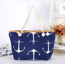 Load image into Gallery viewer, Women Large Capacity Summer Bag Hemp Rope Straw Weave Printed Anchor Canvas Bag Shopping Big Tote Beach Bag