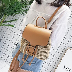 Women Backpacks Straw Shoulder bag Leisure Beach Splicing Backpack Teenage Girl Quality Travel Books Rucksack
