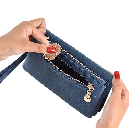 Women's Purse Long Design PU Leather Women's Long Wallet Female High Capacity Double Zippers Clutch Purse Wristlet