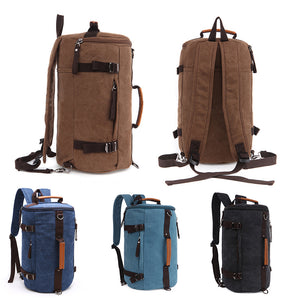 Men Vintage Canvas Backpack Camping Gym Zip Luggage Sports Travel Crossbody Bag
