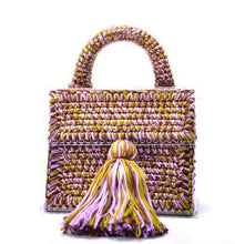 Load image into Gallery viewer, Japan Korea Designer Brand Lady Luxury Handbag Evening Bag Hand woven Wool Acrylic Transparent Satchel Purses Small Tassel Tote