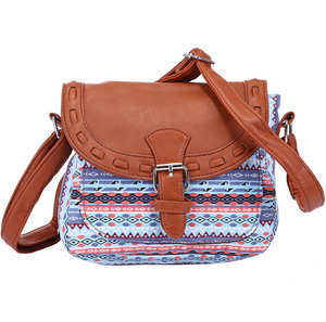 Vintage Fabric Boho Aztec Tribal Female Handbag Women Crossbody Bag Ladies Shoulder Bag with PU Leather Messenger Bag