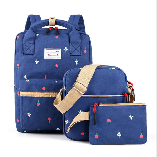 New three-piece canvas casual backpack student bag floral travel shoulder bag outdoor backpack