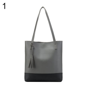 Vintage Tassels Faux Leather Buckle Close Shoulder Bag Women Handbag Tote Pouch