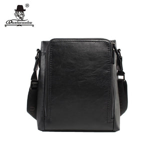 Brand Waterproof 3 Compartment Split Leather Messenger Bags Men Crossbody Bag Fashionable Male Black Small Bags