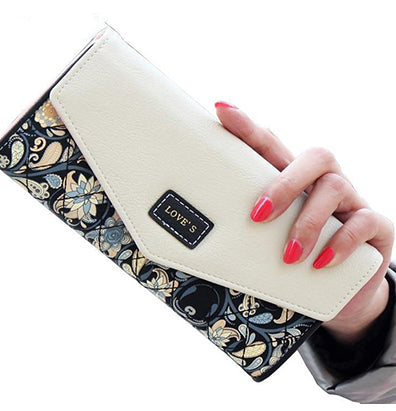 Fondhere Wallet Female PU Leather  Wallet Leisure Purse Colorful Style 3Fold Flowers Printing Women Wallets Long Coin Purse