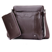 Load image into Gallery viewer, Men Bag Vertical Business Leather Shoulder Bag Vintage Man Crossbody Messenger bag With Wallet