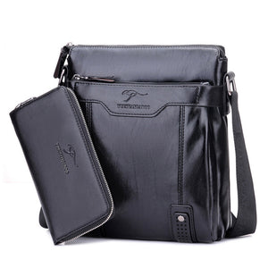 Men Bag Vertical Business Leather Shoulder Bag Vintage Man Crossbody Messenger bag With Wallet