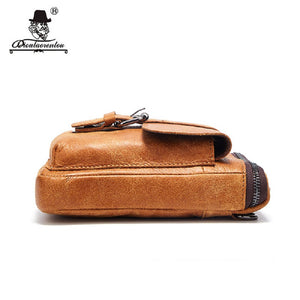 Brand Small Leather Man Bag Genuine Cowhide Leather Bags Shoulder Belt Bag Vintage Men Messenger Bags