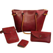 Load image into Gallery viewer, 4 Pcs/Set Faux Leather Women Purse Card Holder Shoulder Bag Crossbody Phone Bag